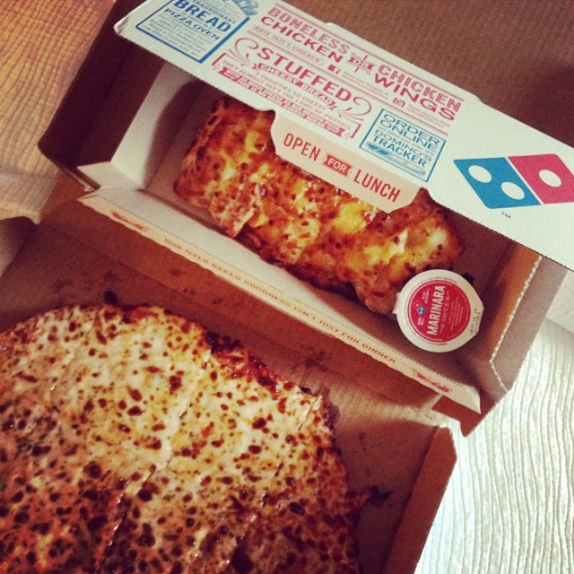 Cooped up in a hotel tonight, so Dominos for dinner is what we are having!