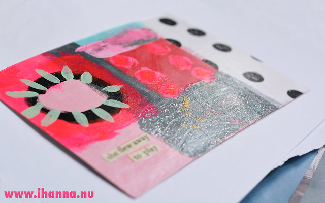 Painted Postcard with glitter and tissue paper
