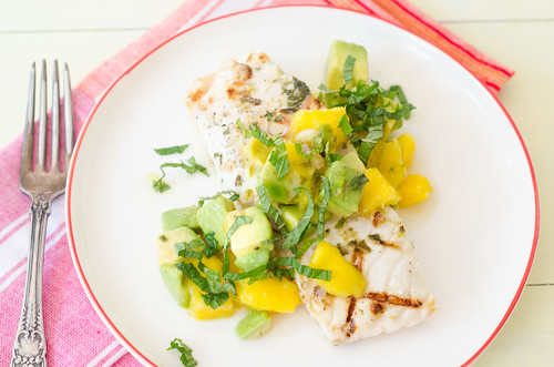 Pink Parsley: Grilled Mojito Halibut with Mango-Avocado Salsa