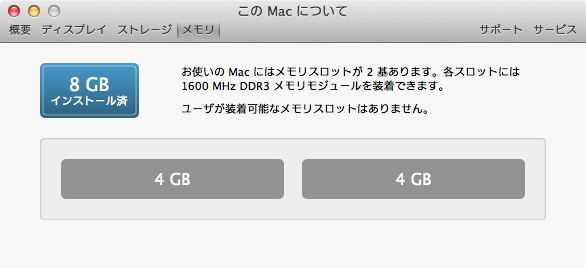 MacBook Airメモリ
