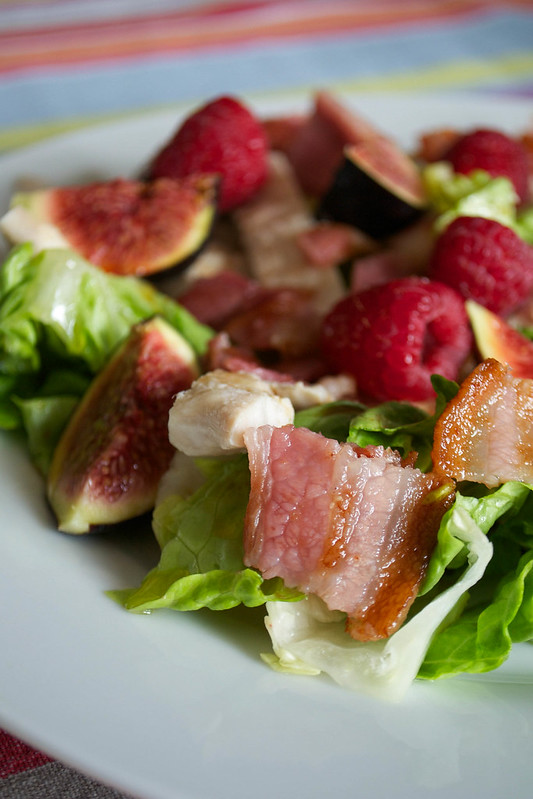 aip paleo fig raspberry bacon salad with pomegranate molasses dressing