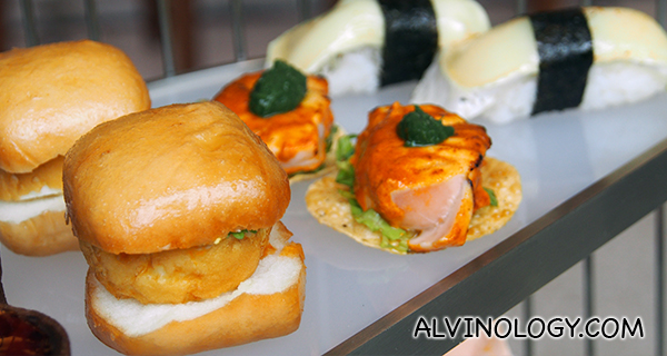 Left to Right: Mantou, Chili Crab; Tikka Inspired Salmon and Torched Double Brie