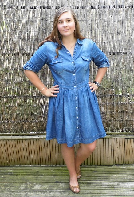 Chambray Shirt dress & Peep Toe Shoes