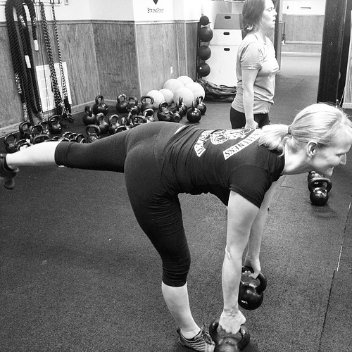 Single Keg RDL's with double bells are one of my favorites!  Great for balance, coordination, stability and hamstring strength!  If you aren't doing single leg work...start doing it!  #strongfirst #kettlebells #spartanworkout #spartantraining #precisionfi