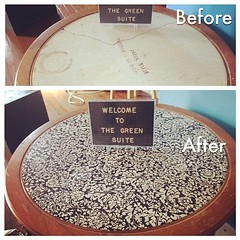 A quick little fix for my broken welcome table. Looks groovy now! #thegreensuite #diy
