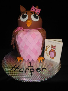 Pink owl with card