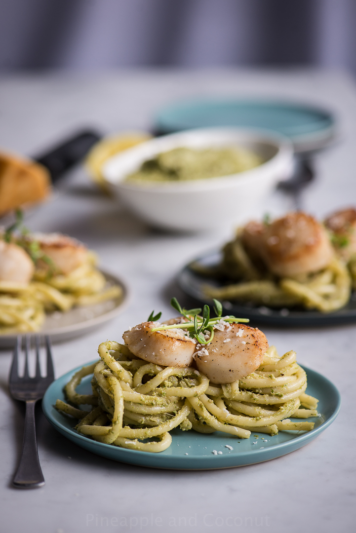 Pea Shoot Pesto Bucatini with Seared Sea Scallops www.PineappleandCoconut.com