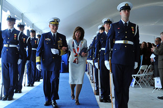 Adm. Bob Papp and his wife, Linda Kapral-Papp, depart the stage during a change of command ceremony at Coast Guard Headquarters in Washington May 30, 2014.  Papp was relieved by Adm. Paul Zukunft, the 25th commandant of the Coast Guard, during the event.  U.S. Coast Guard photo by Petty Officer 2nd Class Patrick Kelley.