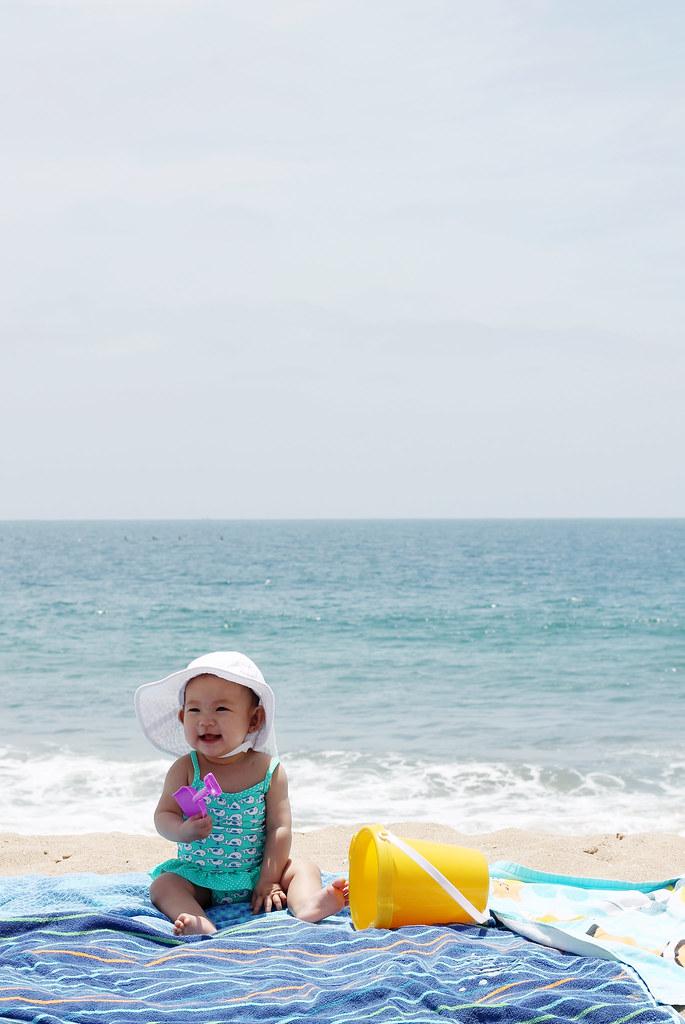 serene at the beach at 34 weeks