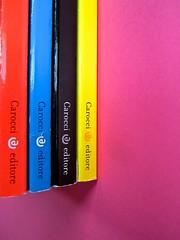 Città della scienza; vol. 1, 2, 3, 4. Carocci editore 2014. Progetto Grafico di Falcinelli & Co. Dorsi: vol. 4, 1, 3, 2 (part.) 1