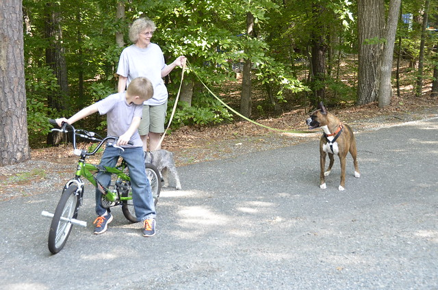 Koby with a K and his grandmother and two dogs at Occoneechee State Park