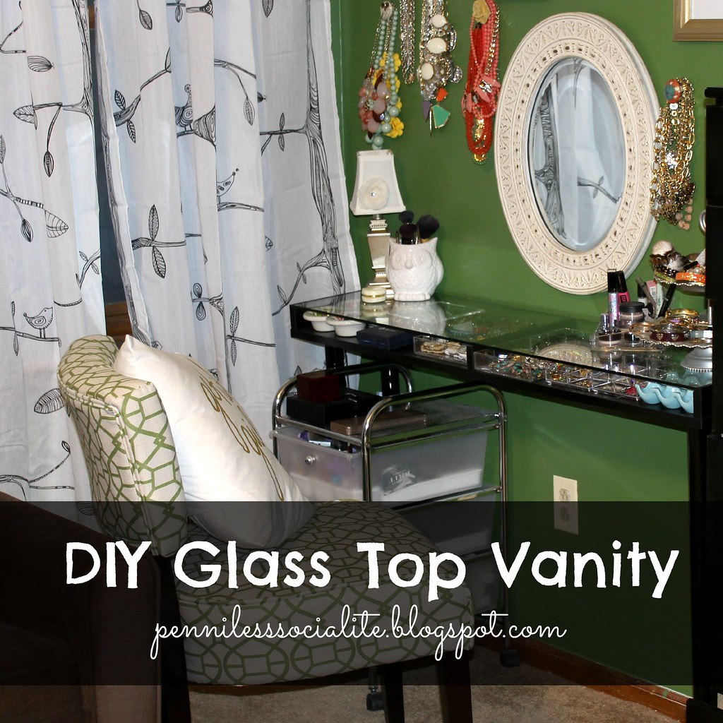 Penniless Socialite: DIY: Glass Top Vanity from an Ikea Shelf