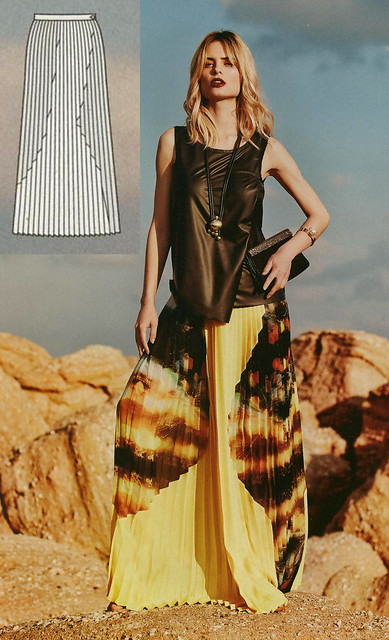 Burda-August-2014 Pleated Skirt