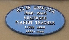Photo of Helen Hopekirk black plaque