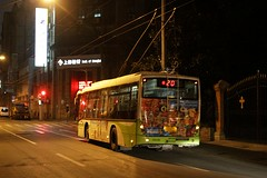 Chinese trolleybus on route 20 in central Shanghai