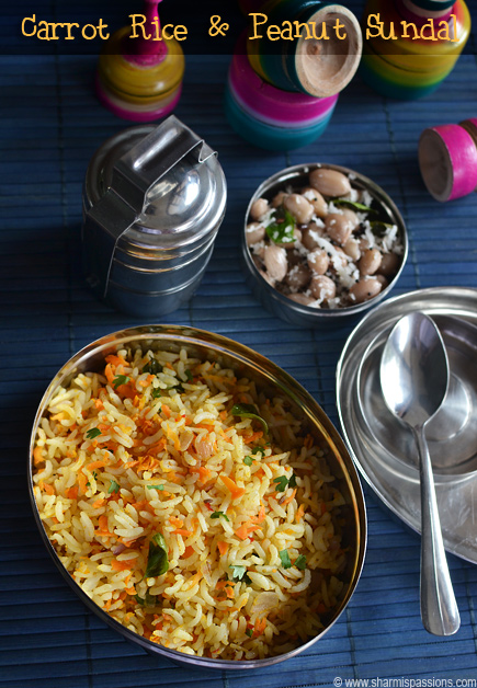 Carrot Rice, Peanut Sundal