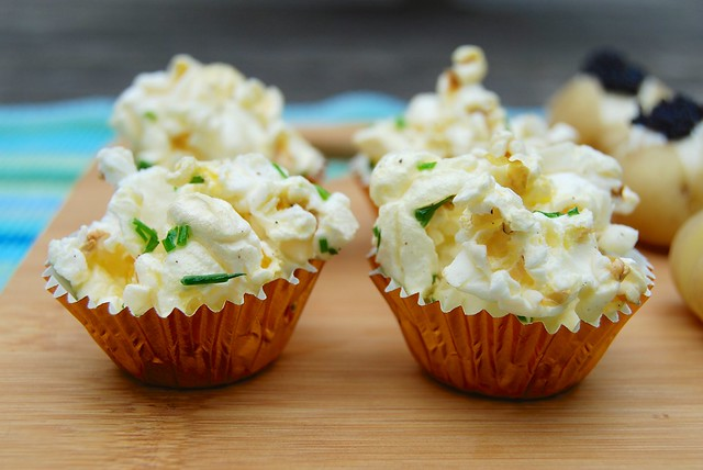 Chive Butter Popcorn Canapés