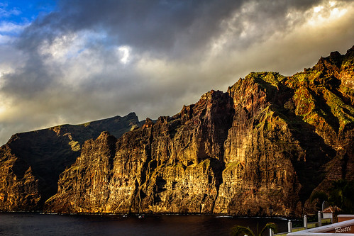 sunset sea sky cliff rocks tenerife losgigantes