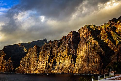 sunset sea sky cliff rocks tenerife losgigantes