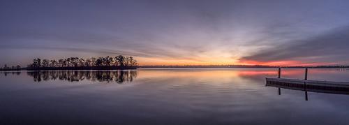 morning unionlake sunrise twilight millville nj water lake island dock calm reflection