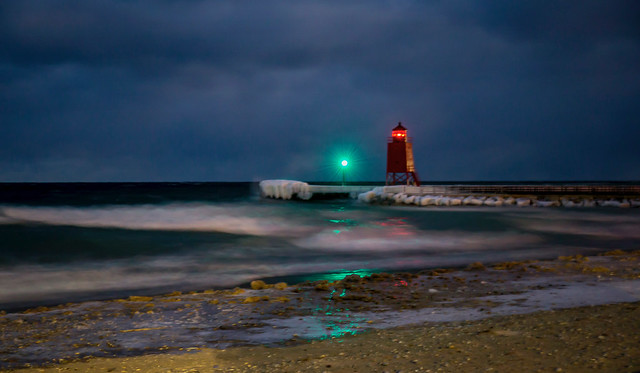 Rough Waters at the Lighthouse - Night (Explored)