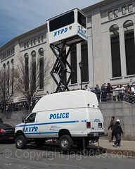 NYPD SkyWatch Manned Mobile Observation Tower, 2017 Yankees Home Opener at Yankee Stadium, The Bronx, New York City