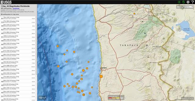 Sismos en Chile USGS