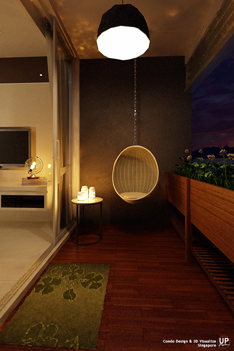 Residential Interior Design Idea_Balcony Wicked Hanging Chair at night_Condominium_Palm Oasis, Singapore_09