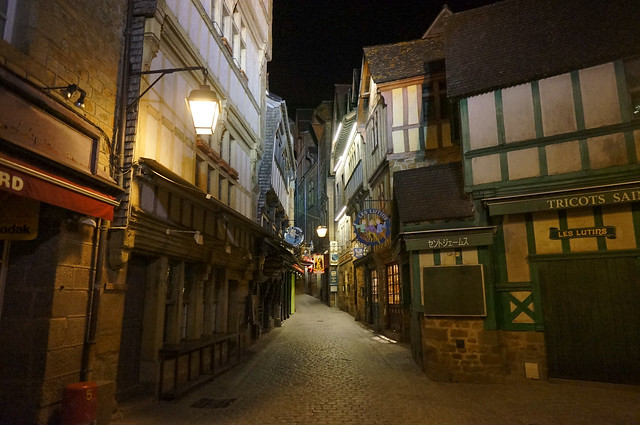 Streets of Mont Saint Michel at night