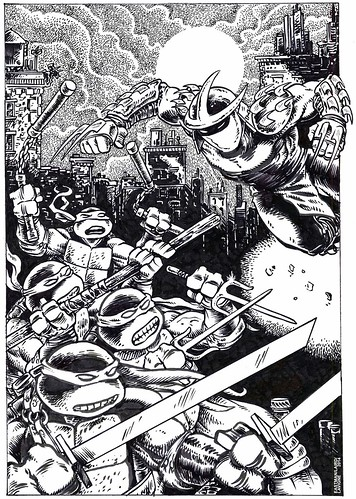 "SHELLBACK ARTWORKS :: ""TMNT v. SHREDDER""  exclusive print for Free Comic Book Day 2014 // .. cleaned inking by LAIRD"