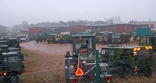 Military vehicles at Luftvärnsregementet in Halmstad, Sweden