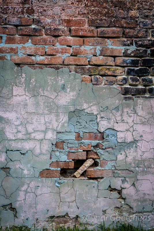 pink brick wall wabi sabi