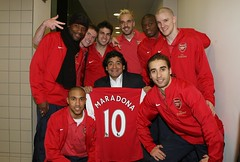 Diego Maradona (Argentina Football Legend) meets (L>R) William Gallas, Gael Clichy, Alex Hleb, Cesc Fabregas, Manuel Almunia, Abou Diaby, Mathieu Flamini and Philippe Seneros (Arsenal). Arsenal 3:0 Newcastle United. Barclays Premier League. Emirates Stadium, 29/1/08. Credit : Arsenal Football Clu...