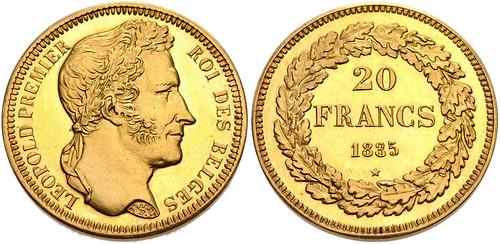 Belgium 1835 Gold 20 Francs