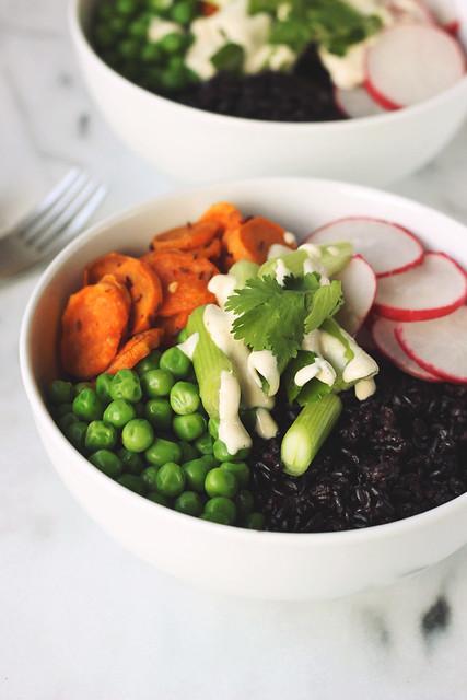 Forbidden Rice Spring Veggie Bowls with Tahini Lemon Dressing