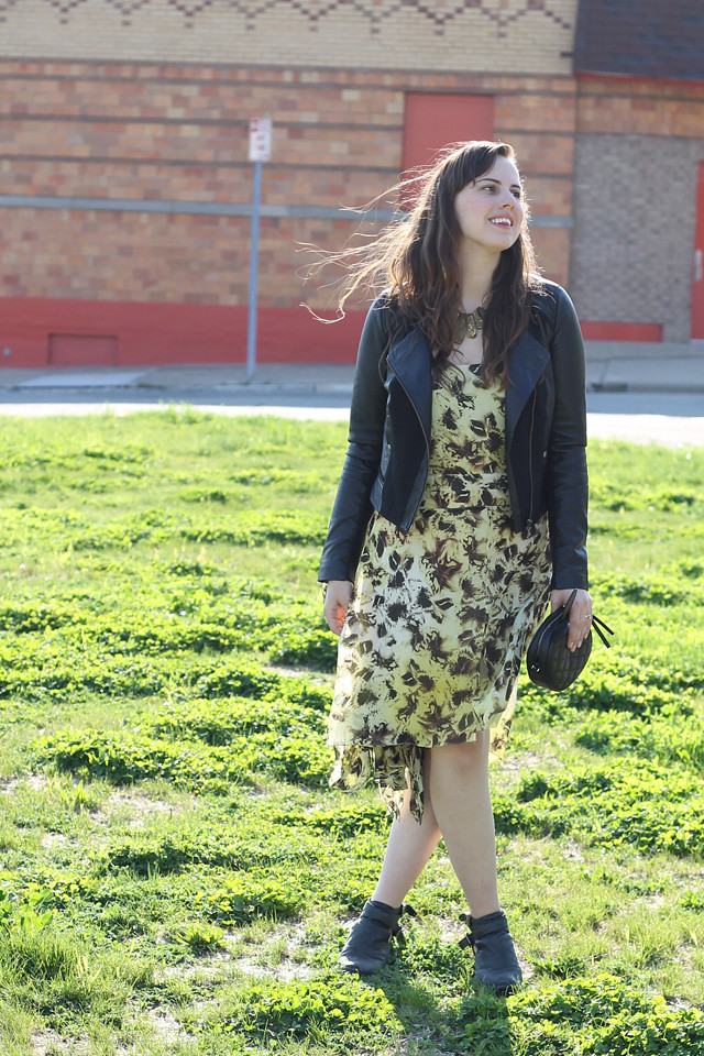 Monarch outfit: yellow silk butterfly dress, Jeffrey Campbell