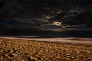 Obraz Plaża o długości 2730 m. longexposure sea moon beach night clouds sand wave cavallino