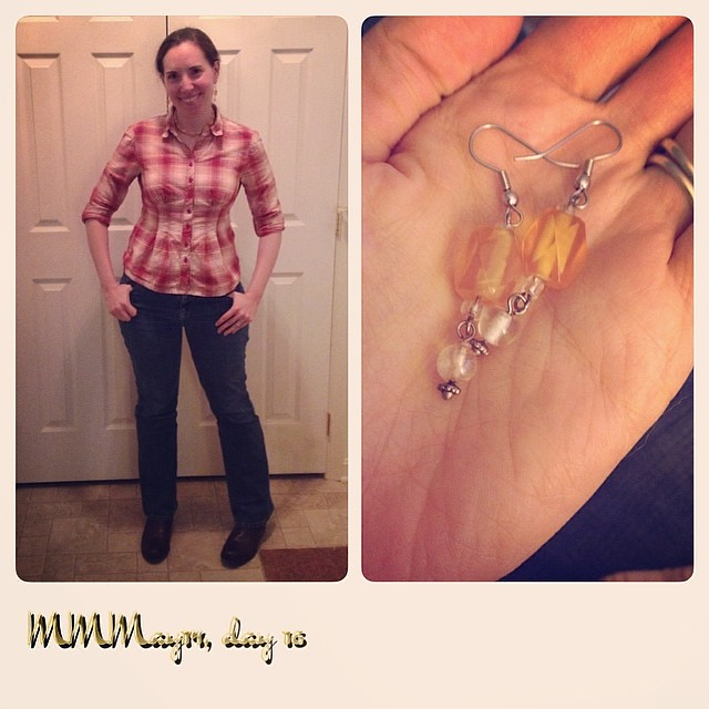 Me-made shirt & earrings, thrifted jeans and necklace, boots from Zappo's. #mmmay14