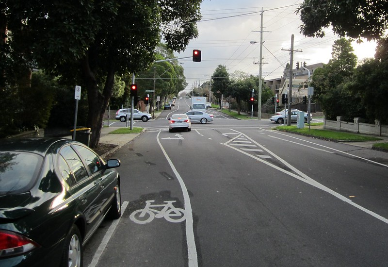 Bike lanes at intersection of Alma and Kooyong Roads, Caulfield North