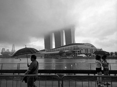 Foggy and wet Sunday afternoons makes you emo. at The Promontory @ Marina Bay