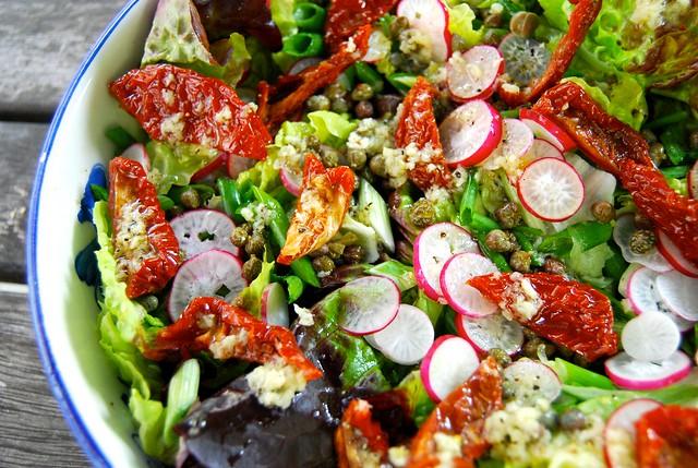 Radish, Caper & Semi-dried Tomato Salad with Homemade Lemon Garlic Dressing 3