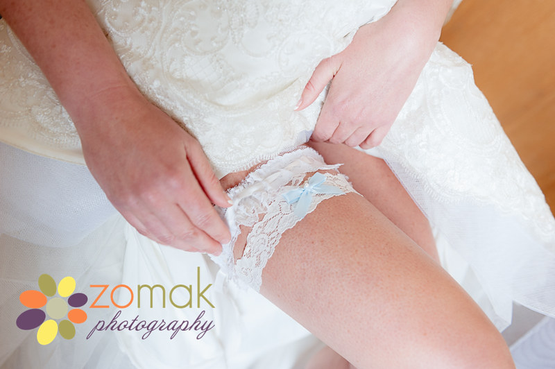 bride wears two garters