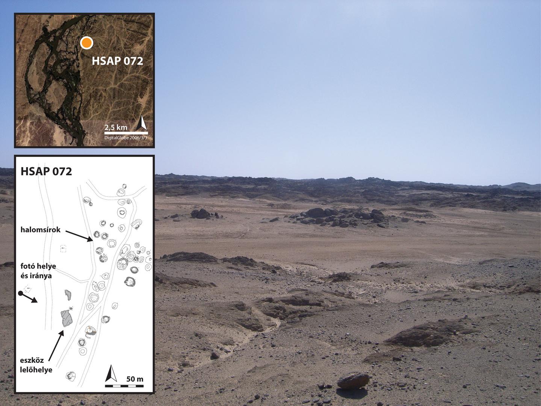1. ábra: A lelőhely látképe és térképe, Szudán.