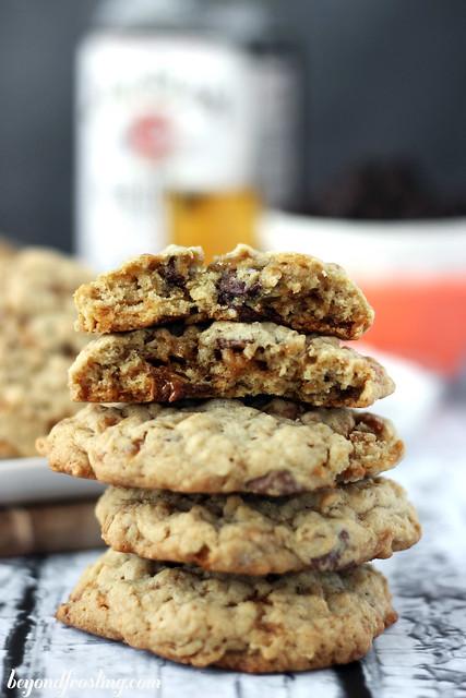 These Bourbon Salted Caramel Oatmeal Cookies are a basic oatmeal chocolate chip cookies with a hint of bourbon and swirls of salted caramel.