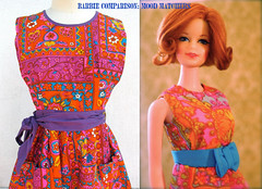orange, pattern, textile, clothing, yellow, fashion, design, pink, dress, doll, barbie, toy,
