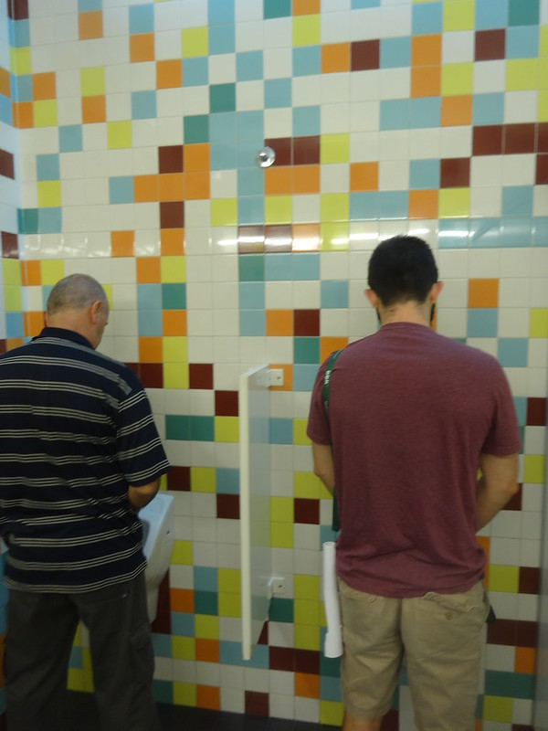 Salo contemplates the bathroom tiles.