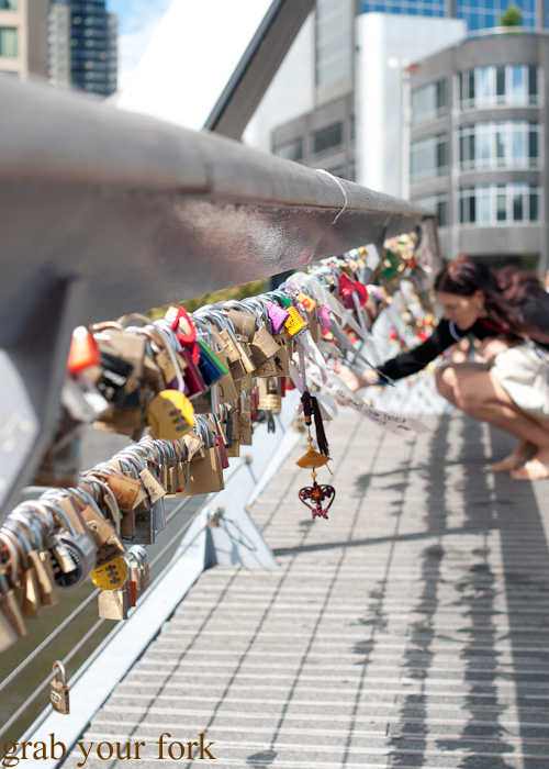 Padlocks of love on Southbank bridge, Melbourne