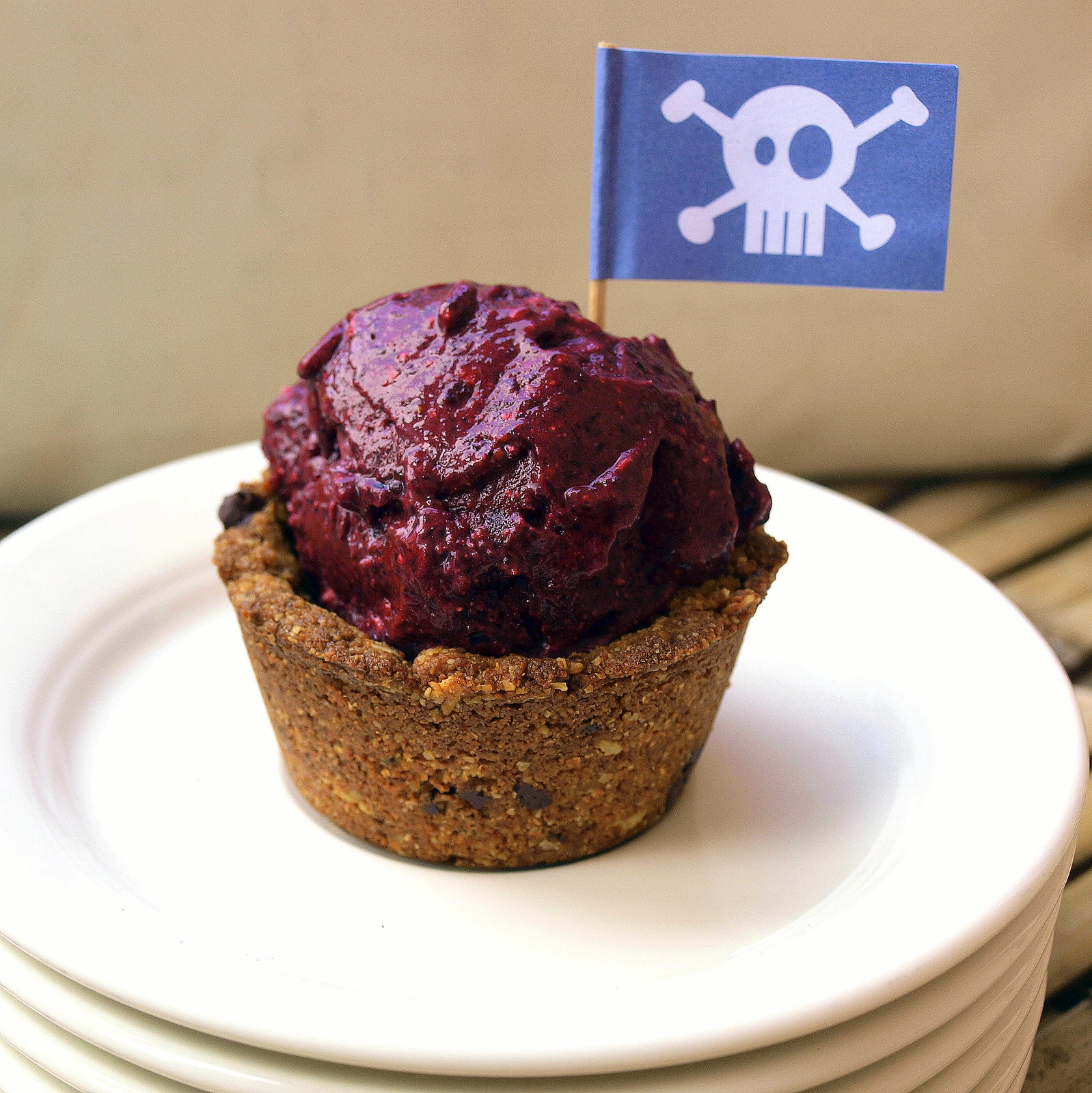 Chickpea Chocolate Chip Cookie Cups + Black Currant Coconut Ice Cream = Summer Love