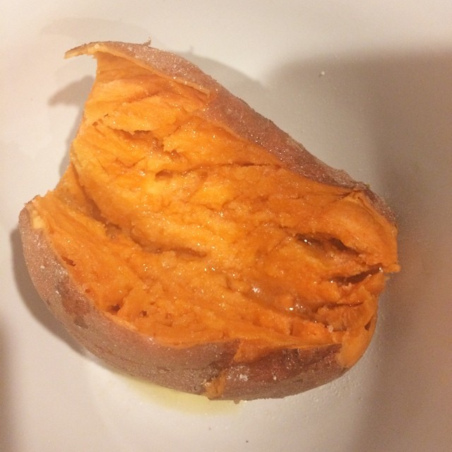 Day 29, #whole30 - rest of dinner (microwaved sweet potato with ghee & salt)