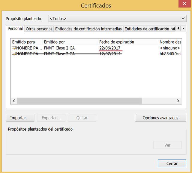 Certificados instalados en el navegador